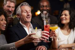 Group Of Middle Aged Friends Celebrating In Bar Together royalty free stock photo