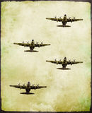 Group of military fighter plane in grunge style Stock Images