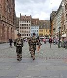 Soldiers in Strasbourg France city square royalty free stock photography