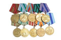 Group of military soviet medals of Great Patriotic war isolated Stock Photo