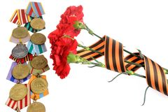 Group of military soviet medals of Great Patriotic war with red Royalty Free Stock Photography