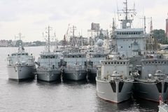 Group of millitary ships in Riga sea port Stock Images