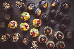 Group of mini cakes Stock Images