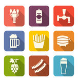 Group Minimal Colorful Icons of Beers and Snacks Stock Image