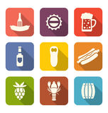 Group Minimal Colorful Icons of Beers and Snacks Royalty Free Stock Photos