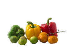 Group mix fruit and vegetable still life on isolated white background. Picture stock photos