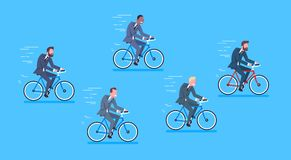Group Of Mix Race Business Men Ride Bicycle Fast Competition Concept. Flat Vector Illustration Royalty Free Stock Image