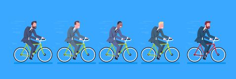 Group Of Mix Race Business Men Wearing Suits Ride Bicycle To Work Horizontal Banner. Flat Vector Illustration Royalty Free Stock Photography