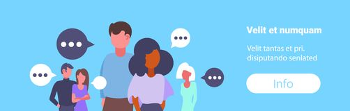 Group mix race business people chat bubble communication concept businessmen and businesswomen portrait conversation. Speech flat horizontal copy space vector royalty free illustration