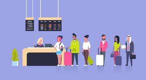 Group Of Mix Race Passengers Standing In Queue To Counter Check In Airport, Departures Board Concept Royalty Free Stock Photos