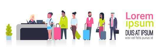 Group Of Mix Race Passengers Standing In Queue To Counter Check In Airport Template Banner With Copy Space, Departures Royalty Free Stock Photography
