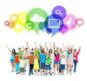 Group mixed age people Bubble Friendship Concept.  Stock Photo