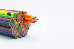Group of mixed colours wooden pencils Royalty Free Stock Images