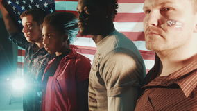 Group of mixed race American patriotic peoples stock video