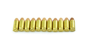 Group of 11mm bullets isolated on a white background Stock Image