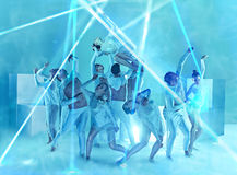 The group of modern ballet dancers. On blue studio background Stock Photo