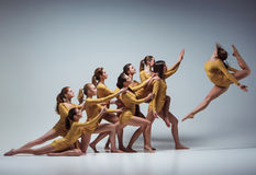 The group of modern ballet dancers Royalty Free Stock Images