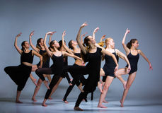 The group of modern ballet dancers stock image