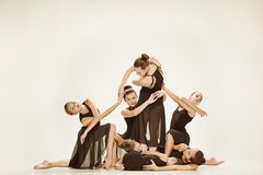 The group of modern ballet dancers stock images