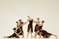 The group of modern ballet dancers. Dancing on gray studio background Stock Image