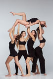 The group of modern ballet dancers royalty free stock photography