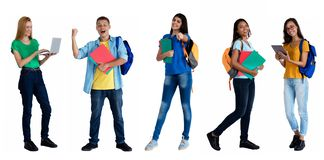 Group of 5 modern caucasian and latin american students royalty free stock image