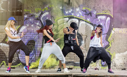 Group of modern dancers train body jam Stock Photos