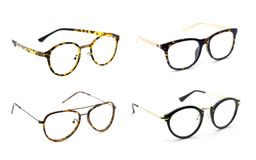 Group of modern fashionable spectacles isolated on white backgro. Und, Perfect reflection, Glasses Stock Images