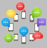Group of modern mobile phones Stock Photo