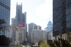 Group modern skyscrapers in city Hongkong China stock image