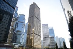Group of modern skyscrapers in city Hongkong stock images