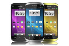 Group of modern touchscreen smartphones. Royalty Free Stock Photos