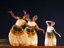 Group of Mohiniyattam dancers Royalty Free Stock Photos