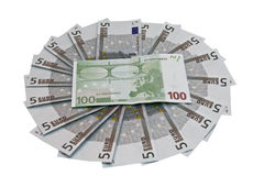 Group money. Group euro isolated on a white  background Royalty Free Stock Photo