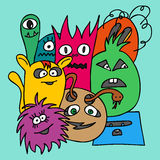 Group of Monsters. Colorful vector illustration in bright colors Royalty Free Stock Photo