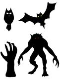 A group of the monsters. Halloween creepy old tree isolated on the white background. Werewolf, owl, bat, hand Stock Image
