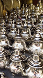 Group of Moroccan teapots. In the window of a local flea market Stock Images