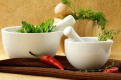 Group of mortars with herbs Royalty Free Stock Images