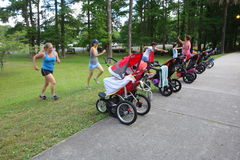 Group of mothers running with strollers in park. Mothers keeping fit outdoors with babies in strollers in Greenfield Park Stock Photos