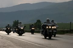 Group of motocycle riders on the road in the beginning of moto season – near by Sofia, Bulgaria, may 14, 2008. Group of motocycle riders on the road in the Royalty Free Stock Photo