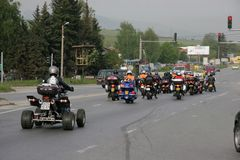 Group of motocycle riders on the road in the beginning of moto season – near by Sofia, Bulgaria, may 14, 2008. Group of motocycle riders on the road in the Stock Image