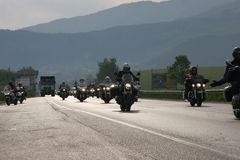 Group of motocycle riders on the road in the beginning of moto season – near by Sofia, Bulgaria, may 14, 2008. Group of motocycle riders on the road in the Stock Photos