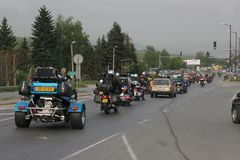 Group of motocycle riders on the road in the beginning of moto season – near by Sofia, Bulgaria, may 14, 2008. Group of motocycle riders on the road in the Royalty Free Stock Image