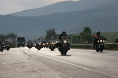 Group of motocycle riders on the road in the beginning of moto season – near by Sofia, Bulgaria, may 14, 2008. Group of motocycle riders on the road in the Stock Photography