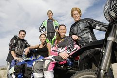 Group Of Motor Bike Riders Stock Photo