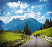 Group of motorbikers in the mountains Royalty Free Stock Image