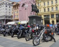 Group of motorcycle Harley Davidson fans in Zagreb royalty free stock photos