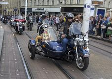 Group of motorcycle Harley Davidson fans in Zagreb stock photography