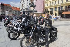 Group of motorcycle Harley Davidson fans in Zagreb royalty free stock photo