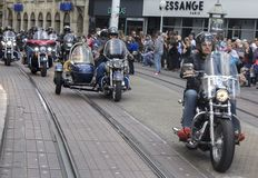 Group of motorcycle Harley Davidson fans in Zagreb stock image